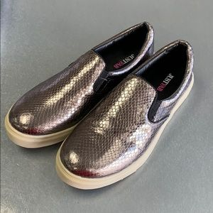 Silver slip on flats